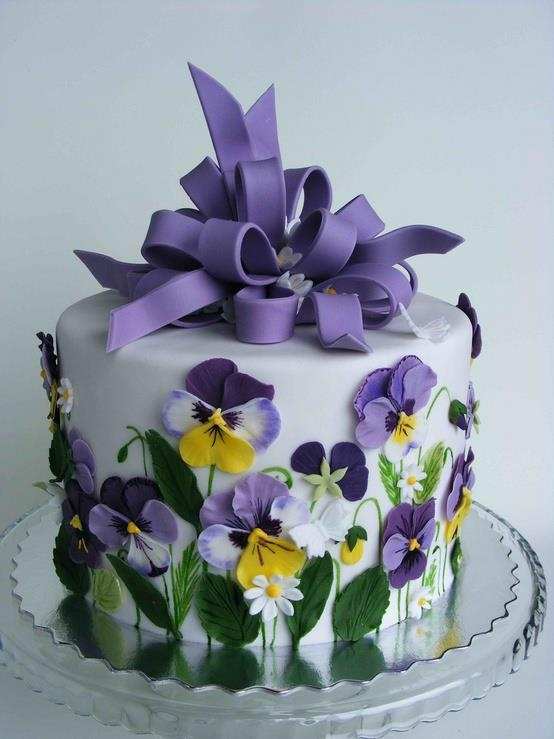 Stupendous Birthday Cakes Purple Pansy Cake Yesbirthday Home Of Funny Birthday Cards Online Elaedamsfinfo