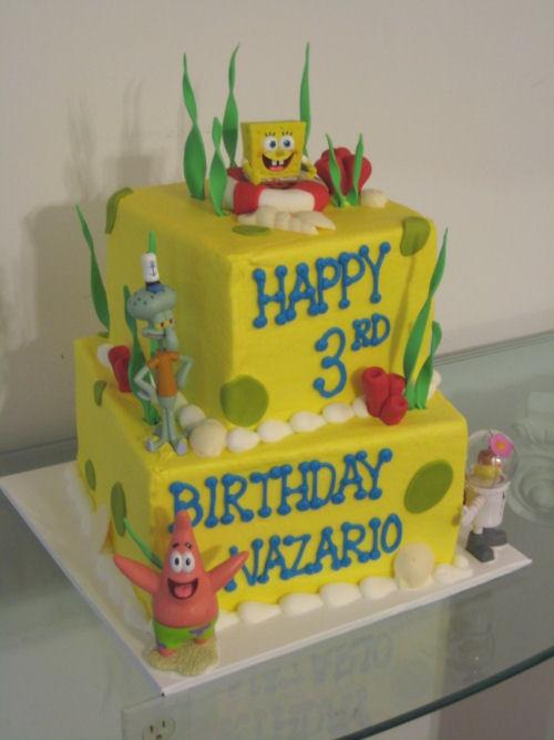Pleasing Birthday Cakes Spongebob Theme 2 Tier Cake This Is Perfect For Funny Birthday Cards Online Drosicarndamsfinfo