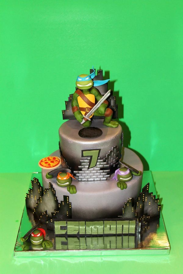 Fabulous Birthday Cakes Tmnt Cake Cake Is Completely Edible And Hand Birthday Cards Printable Riciscafe Filternl