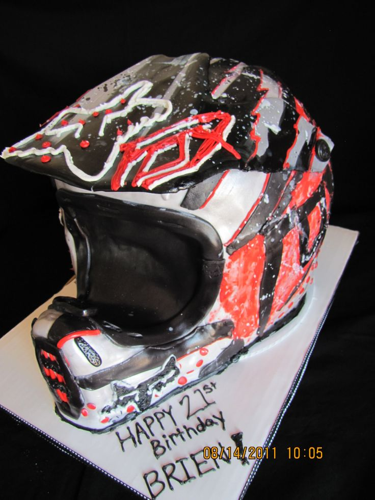 Brilliant Birthday Cakes Dirt Bike Helmet Cake This Would Be Great For Funny Birthday Cards Online Alyptdamsfinfo