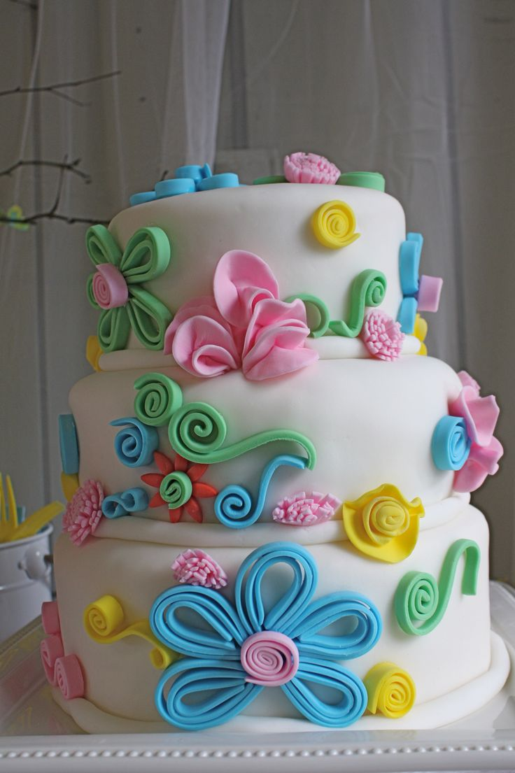 Fine Birthday Cakes Fondant Flower Cake Yesbirthday Home Of Funny Birthday Cards Online Bapapcheapnameinfo