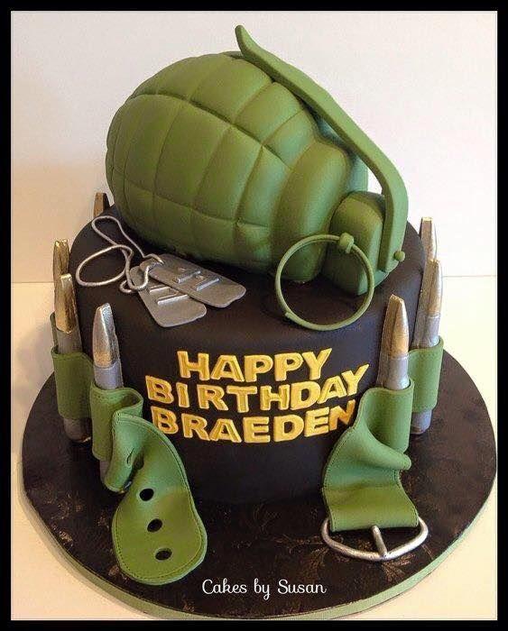 Peachy Birthday Cakes Military Cake Grenade Yesbirthday Home Of Personalised Birthday Cards Paralily Jamesorg
