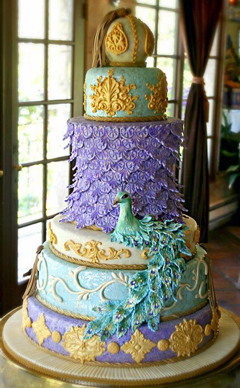 Strange Birthday Cakes Peacock Wedding Cake Yesbirthday Home Of Personalised Birthday Cards Veneteletsinfo