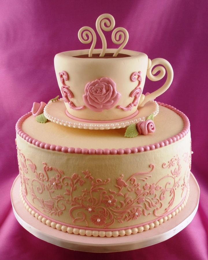 Super Birthday Cakes Pictures Of Tea Party Cakes Teacup Is Made Of Birthday Cards Printable Riciscafe Filternl