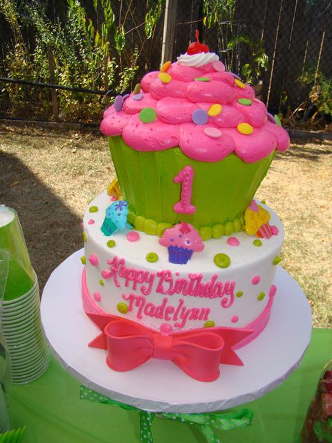 Remarkable Birthday Cakes Pink And Green Cupcake Birthday Party Ideas Funny Birthday Cards Online Alyptdamsfinfo