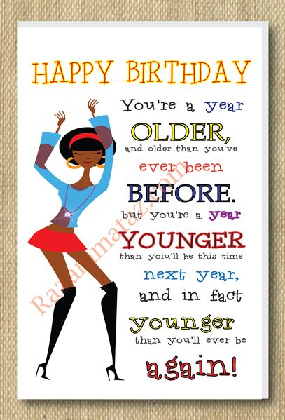 Birthday Quotes : African American Girl A Year Older Birthday Card