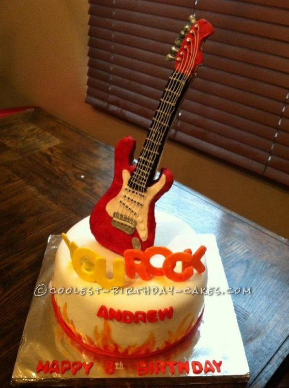Incredible Birthday Cakes Coolest You Rock Guitar Cake For A 6 Year Old Funny Birthday Cards Online Ioscodamsfinfo