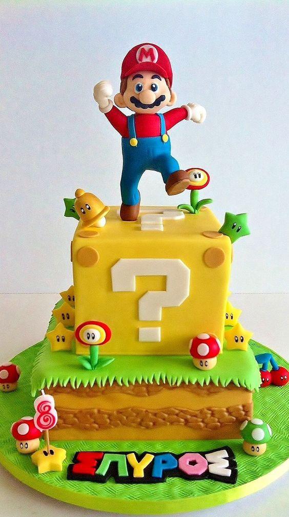 Cool Birthday Cakes Festa Super Mario Bros Yesbirthday Home Of Funny Birthday Cards Online Elaedamsfinfo
