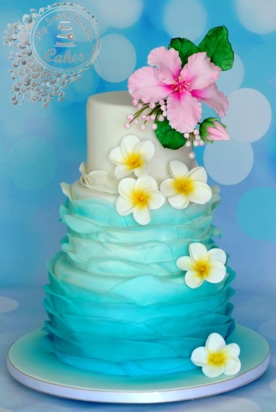Marvelous Birthday Cakes Hawaii Themed Wedding Cake Yesbirthday Home Funny Birthday Cards Online Overcheapnameinfo