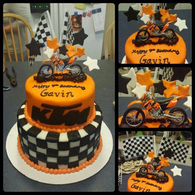 Awe Inspiring Birthday Cakes Ktm Cake Motocross Checkered Flag Orange Birthday Cards Printable Trancafe Filternl