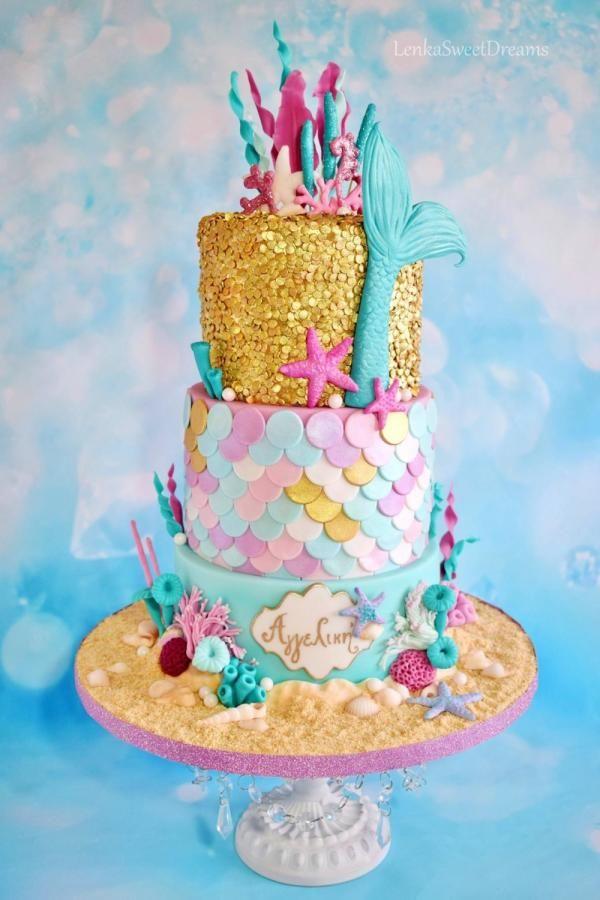 Peachy Birthday Cakes Mermaid Sequin Cake By Lenkasweetdreams Personalised Birthday Cards Veneteletsinfo