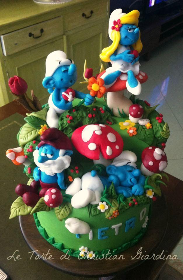 Swell Birthday Cakes Quien No Recuerda A Los Pitufos Smurfs Funny Birthday Cards Online Overcheapnameinfo