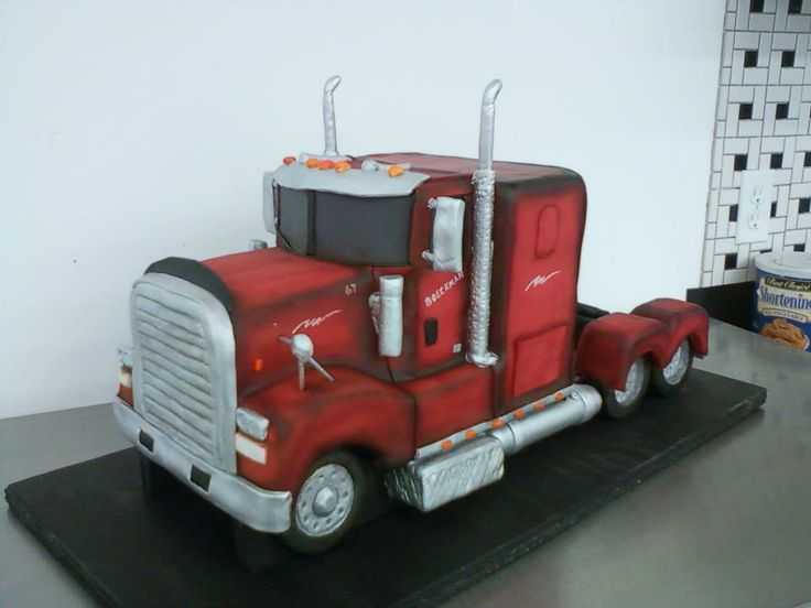 Groovy Birthday Cakes Semi Truck Cake Very Detailed Funny Birthday Cards Online Alyptdamsfinfo