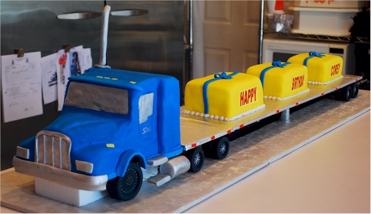 Terrific Birthday Cakes Semi Truck Shaped Cakes Our First Icing Smiles Funny Birthday Cards Online Alyptdamsfinfo