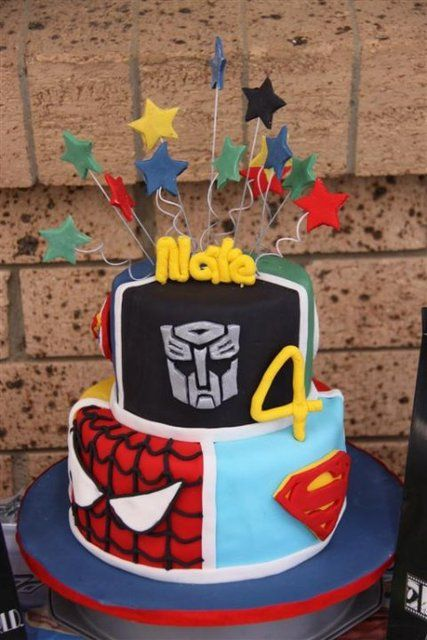 Fantastic Birthday Cakes Superheroes And Transformers Birthday Party Ideas Funny Birthday Cards Online Alyptdamsfinfo