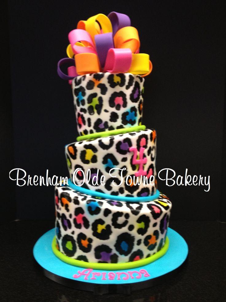 Cool Birthday Cakes Topsy Turvy Neon Leopard Print Birthday Cake Birthday Cards Printable Giouspongecafe Filternl