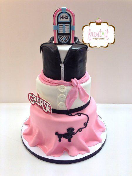Wondrous Birthday Cakes 3 Tier Fondant Grease Theme Cake Poodle Skirt 50S Funny Birthday Cards Online Necthendildamsfinfo