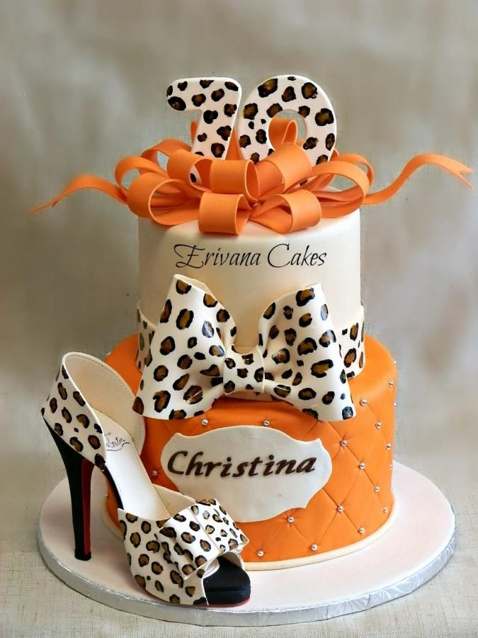 Cool Birthday Cakes Leopard Skin Cake With Edible Shoe By Erivana Funny Birthday Cards Online Aeocydamsfinfo