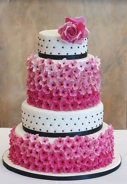 Excellent Birthday Cakes Four Tier White Cake With Black Accents And Pink Funny Birthday Cards Online Hetedamsfinfo