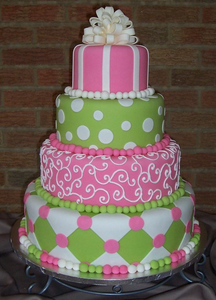 Fine Birthday Cakes Pink And Green Show Cake All Fondant Cake With Funny Birthday Cards Online Alyptdamsfinfo