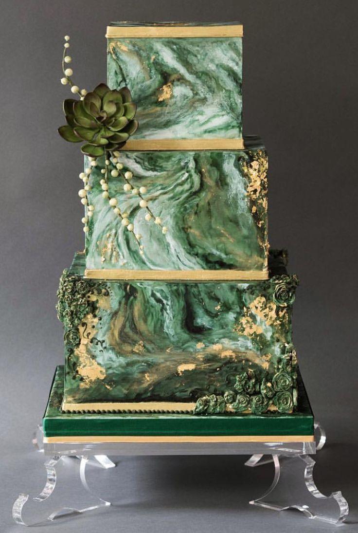 Fine Birthday Cakes Green Marble And Gold Wedding Cake Etsy Com Personalised Birthday Cards Epsylily Jamesorg
