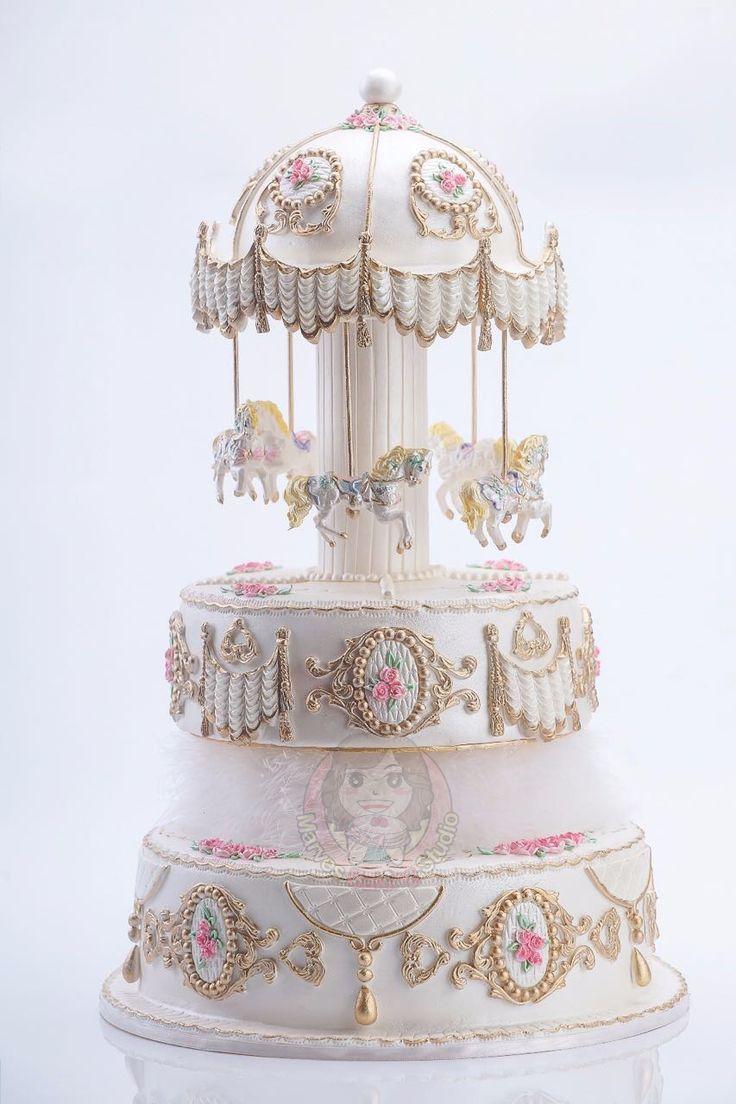 Fantastic Birthday Cakes Carousel Fondant Cake Yesbirthday Home Of Personalised Birthday Cards Akebfashionlily Jamesorg