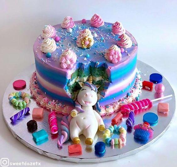 Admirable Unicorn Birthday Cake Creative Birthday Cake Ideas For Girls Personalised Birthday Cards Bromeletsinfo