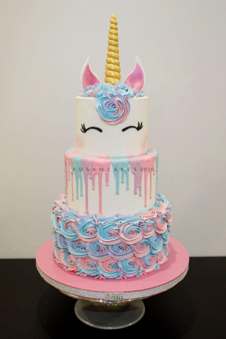 Surprising Unicorn Birthday Cake 3 Tiers Buttercream Unicorn Cake Personalised Birthday Cards Cominlily Jamesorg