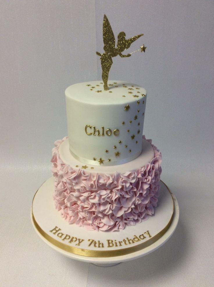 Sensational Unicorn Birthday Cake Pretty 2 Tier Tinkerbell Themed Birthday Personalised Birthday Cards Paralily Jamesorg