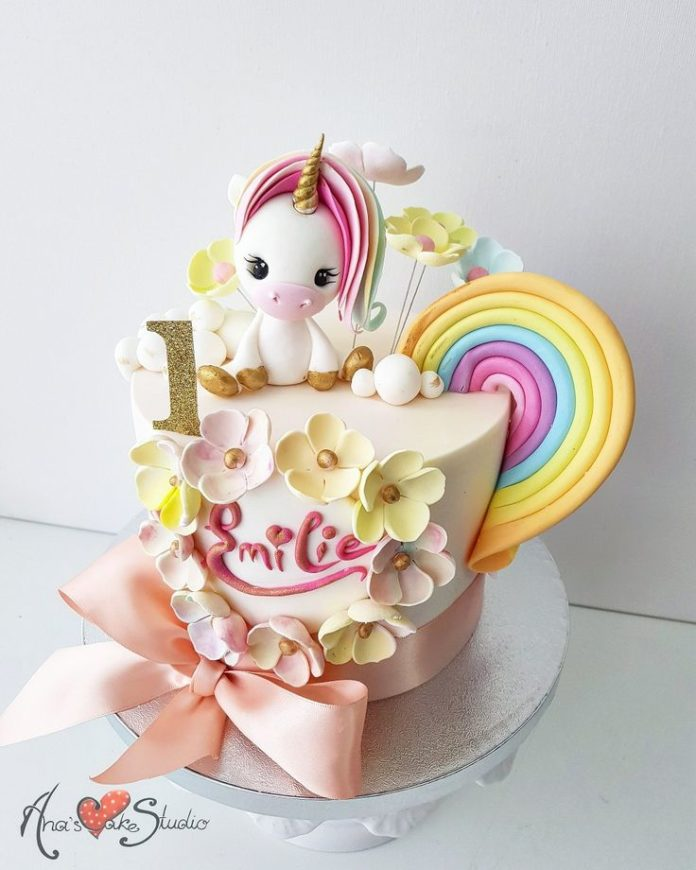 Surprising Unicorn Birthday Cake Pretty Cute Unicorn Cake For Kids Funny Birthday Cards Online Overcheapnameinfo