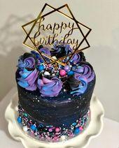 Strange Unicorn Birthday Cake Galaxy Birthday Party Teens 14 Cosmic Funny Birthday Cards Online Alyptdamsfinfo