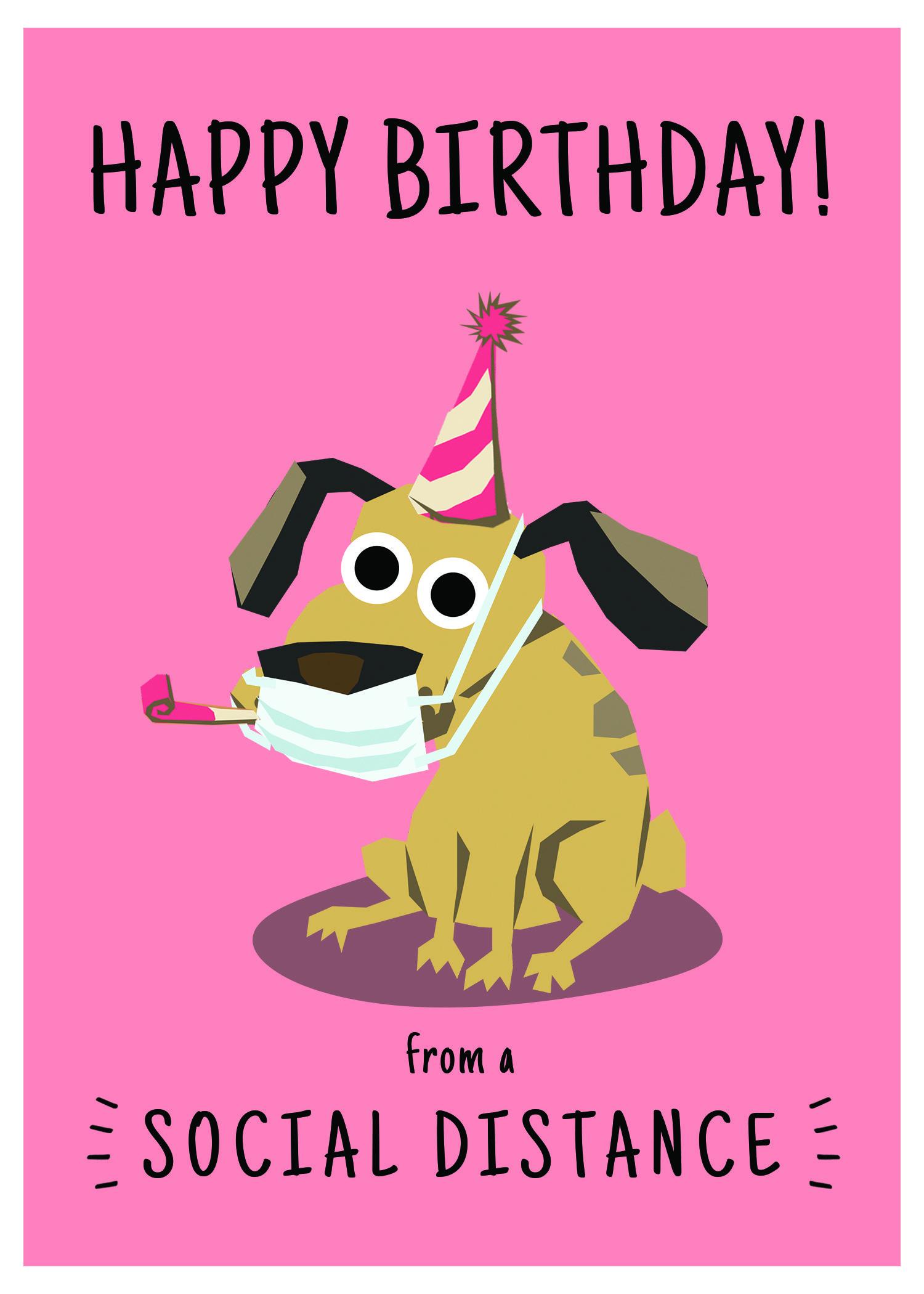 Happy Birthday Wiches Quarantine Birthday Card Cute Dog Yesbirthday Home Of Birthday Wishes Inspiration